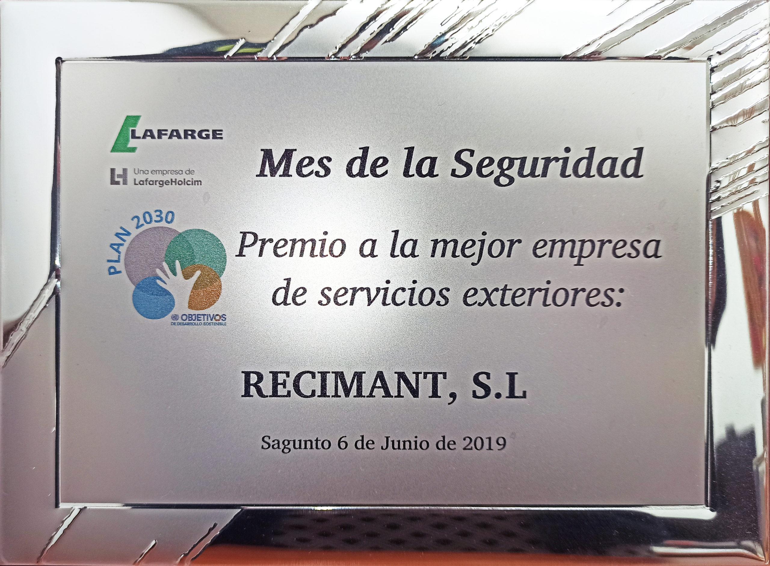 Premio a la mejor empresa de servicios exteriores de LafargeHolcim