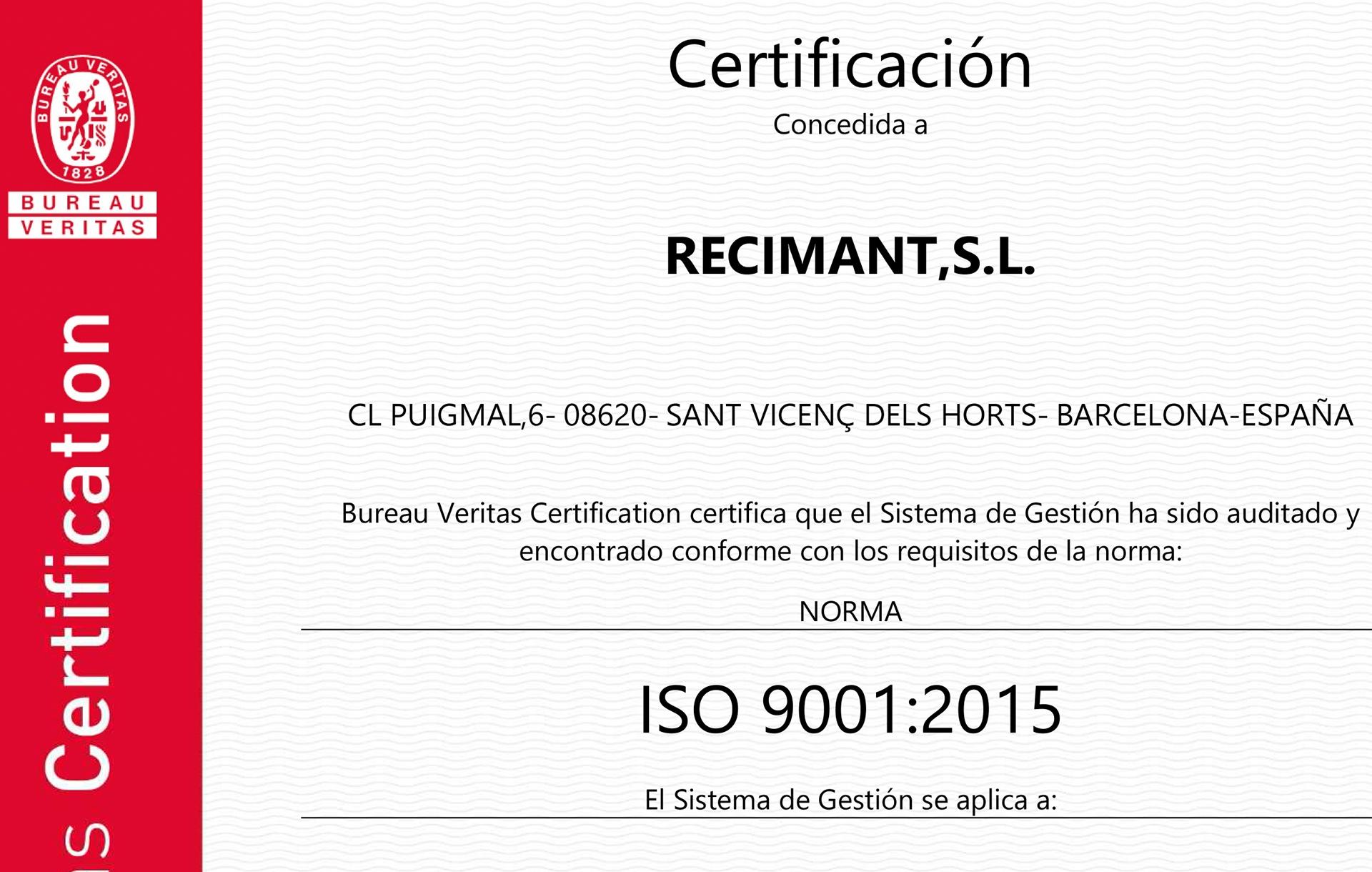Recimant se recertifica nuevamente por la norma de calidad ISO 9001.